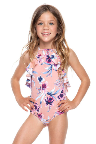 Kids ruffle floral one piece