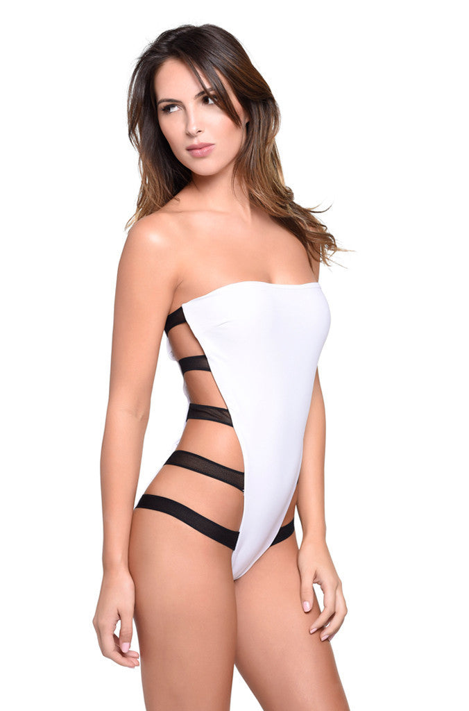 White Strapless Strappy One Piece