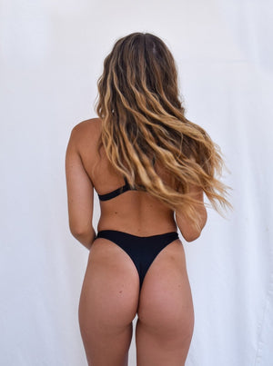 Load image into Gallery viewer, Black Cheeky Thong