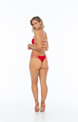 Red Strappy Side Cheeky Bottom