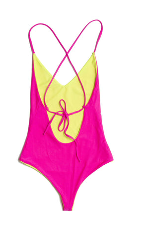 Pink reversible lace up one piece