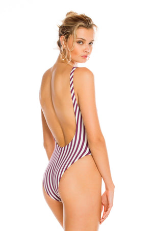 Load image into Gallery viewer, Purple and white striped one piece