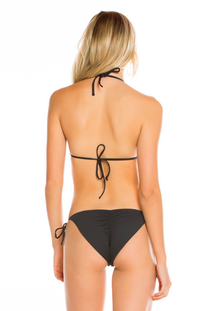 Black hand embroidered ruched side tie bottoms