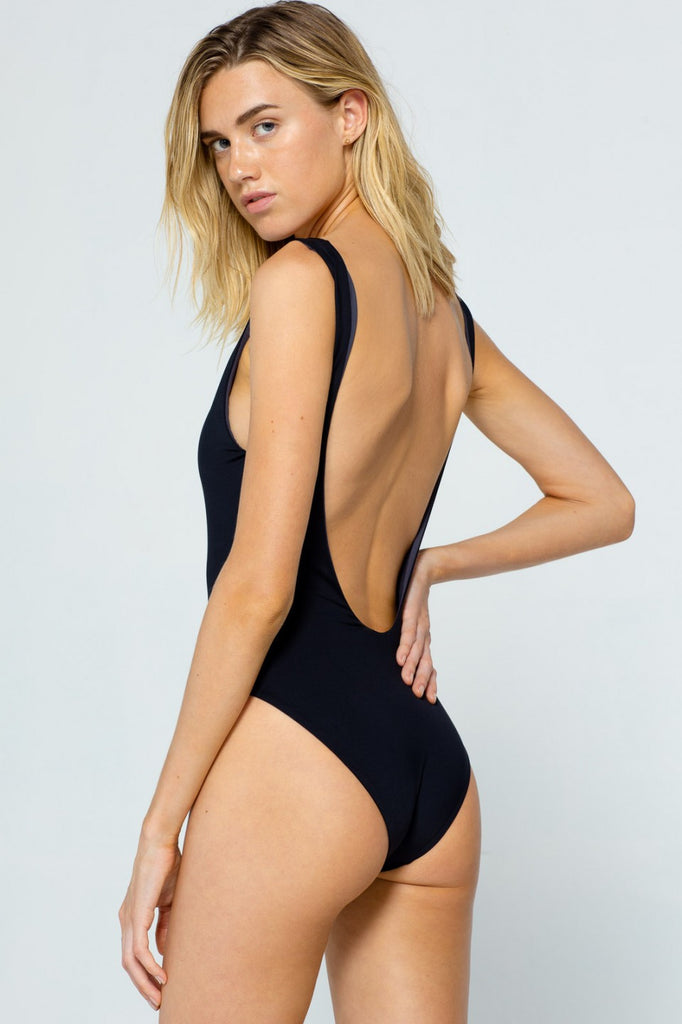 Black open back reversible one piece