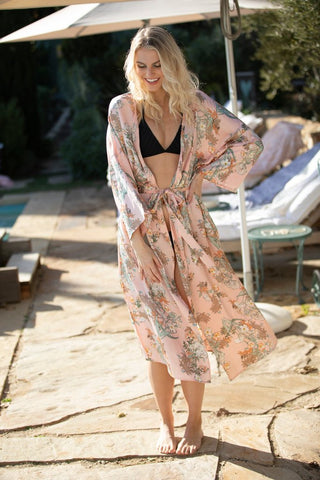 Bed to Brunch Kimono in Spring Bouquet