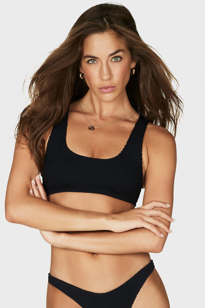 Black Sporty Scoopneck Top