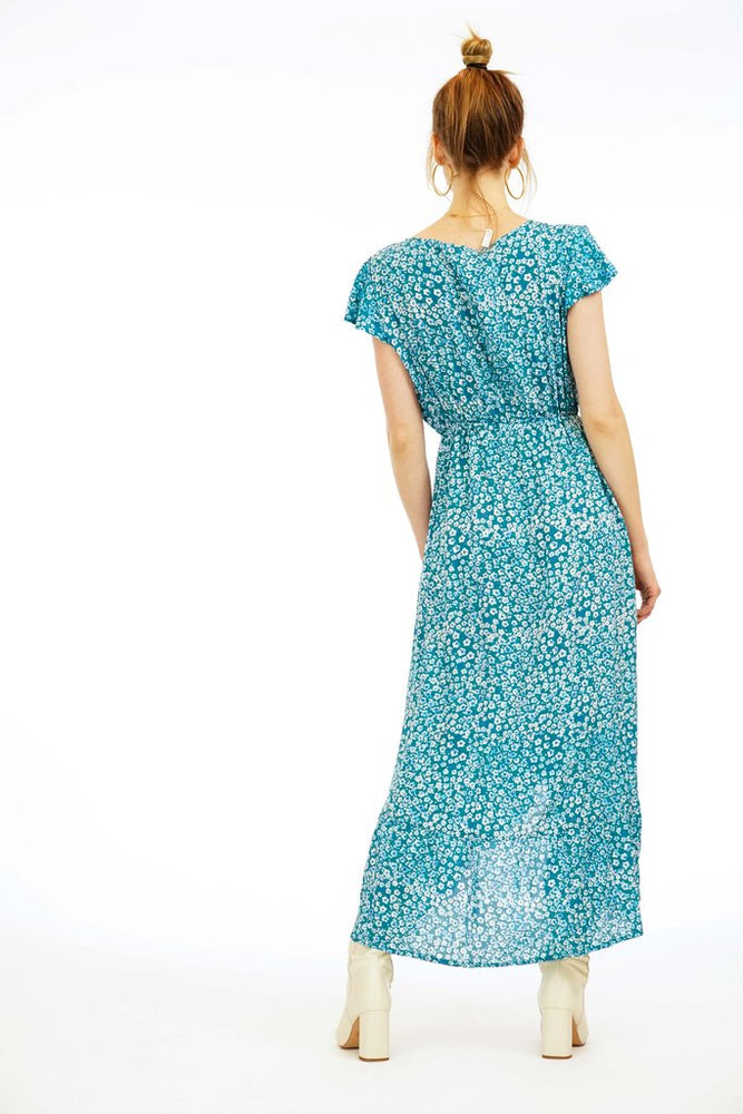 Load image into Gallery viewer, Blue Floral Print Long Dress