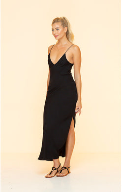 Long Black V-Neck Dress