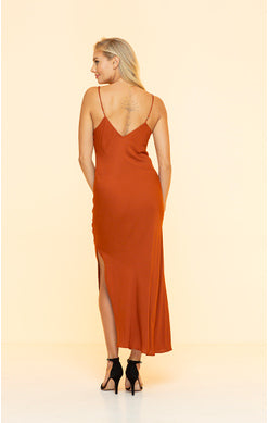 Long Red V-Neck Dress
