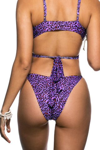 Purple leopard print Latin cut bikini bottom