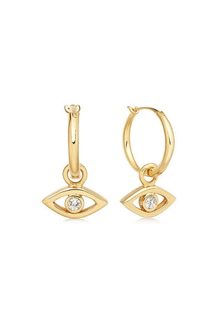 Evil Eye Charm Hoop Earrings - Gold