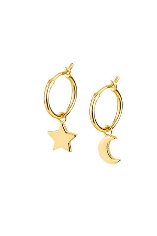 Gold Hoop Charm Earrings