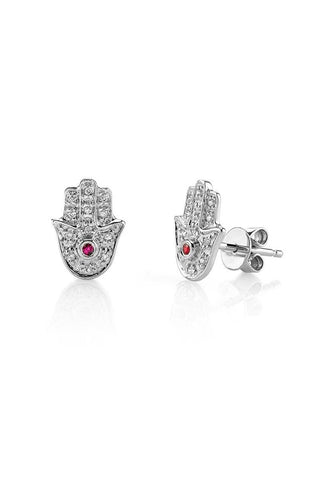 Hamsa Spirit Stud Earrings - Silver
