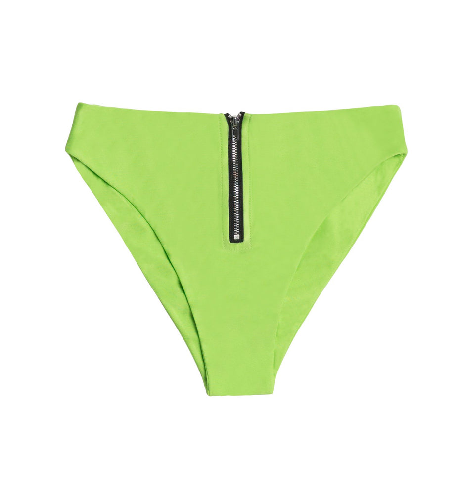 Load image into Gallery viewer, Green high waisted zipper bottoms