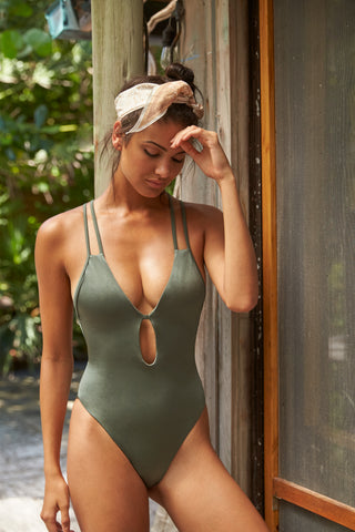 Green Latin Cut One Piece