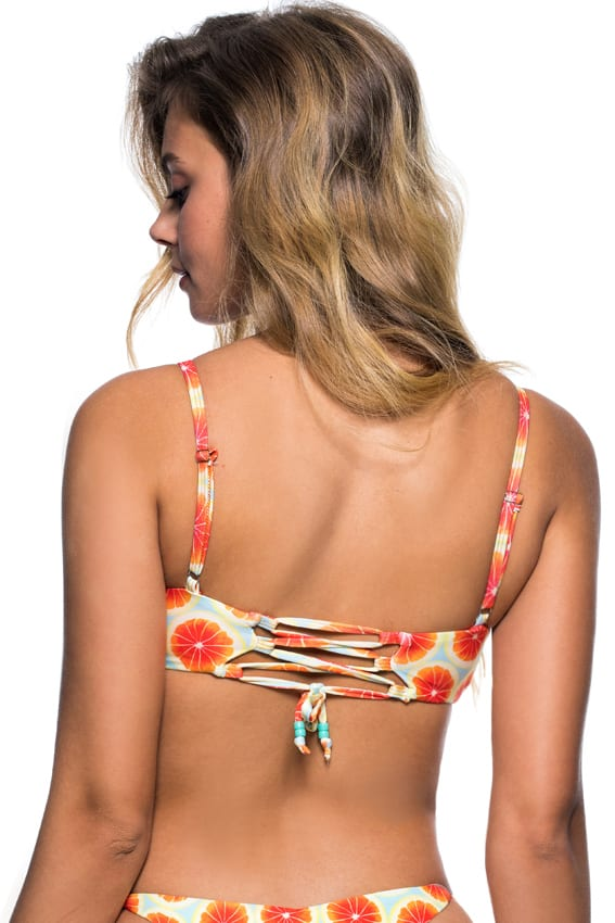 Load image into Gallery viewer, Citrus print scoop neck bikini top