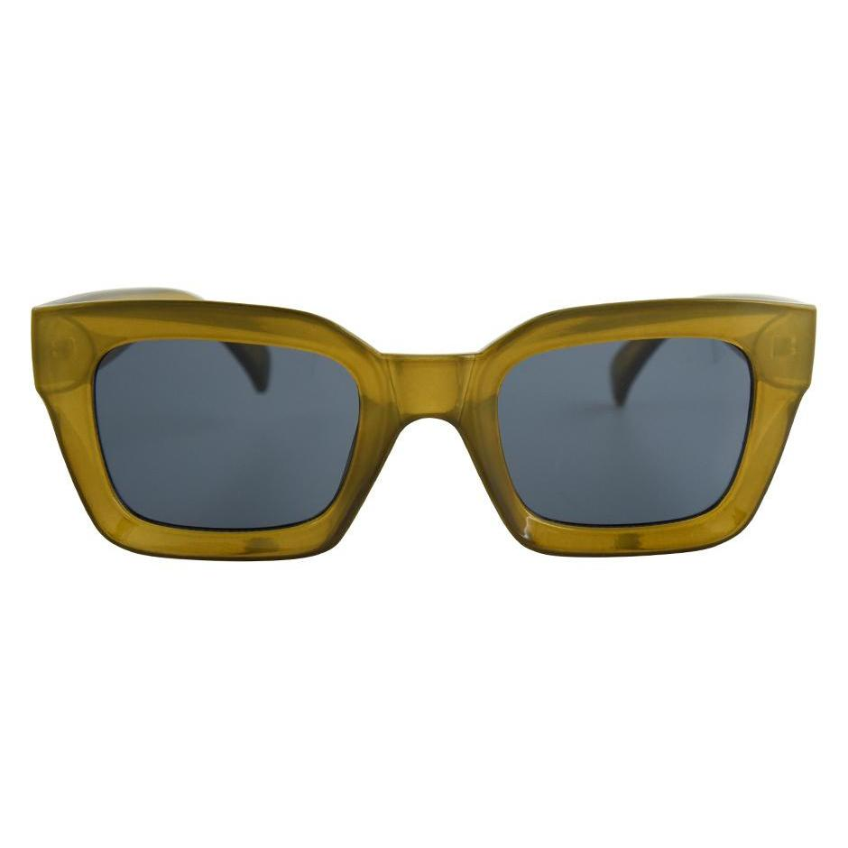 Thick army green rectangle glasses