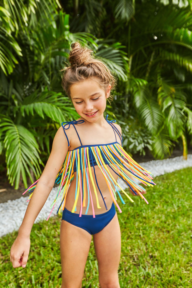 Load image into Gallery viewer, Fringy Two Piece - Navy Multi Color