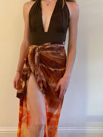 Brown Tie Dye Cover Up With Orange High Lights