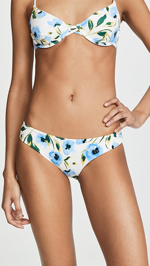 white bottoms with blue flowers