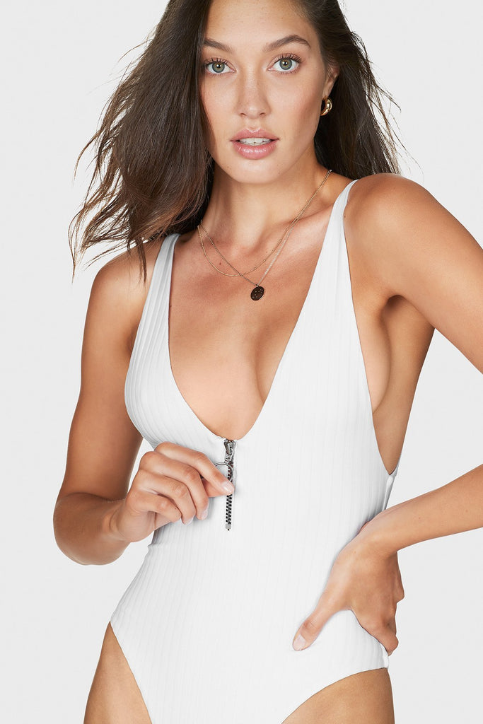 White zipper scoop neck one piece