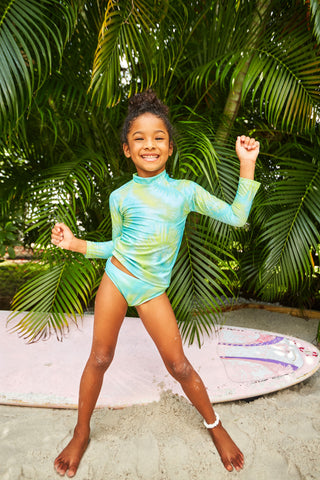 Kids Green And Yellow Tie Dye Rash Guard Set