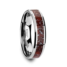 Tungsten Carbide, Red Dinosaur Bone, Beveled Edge - 4mm & 8mm Available