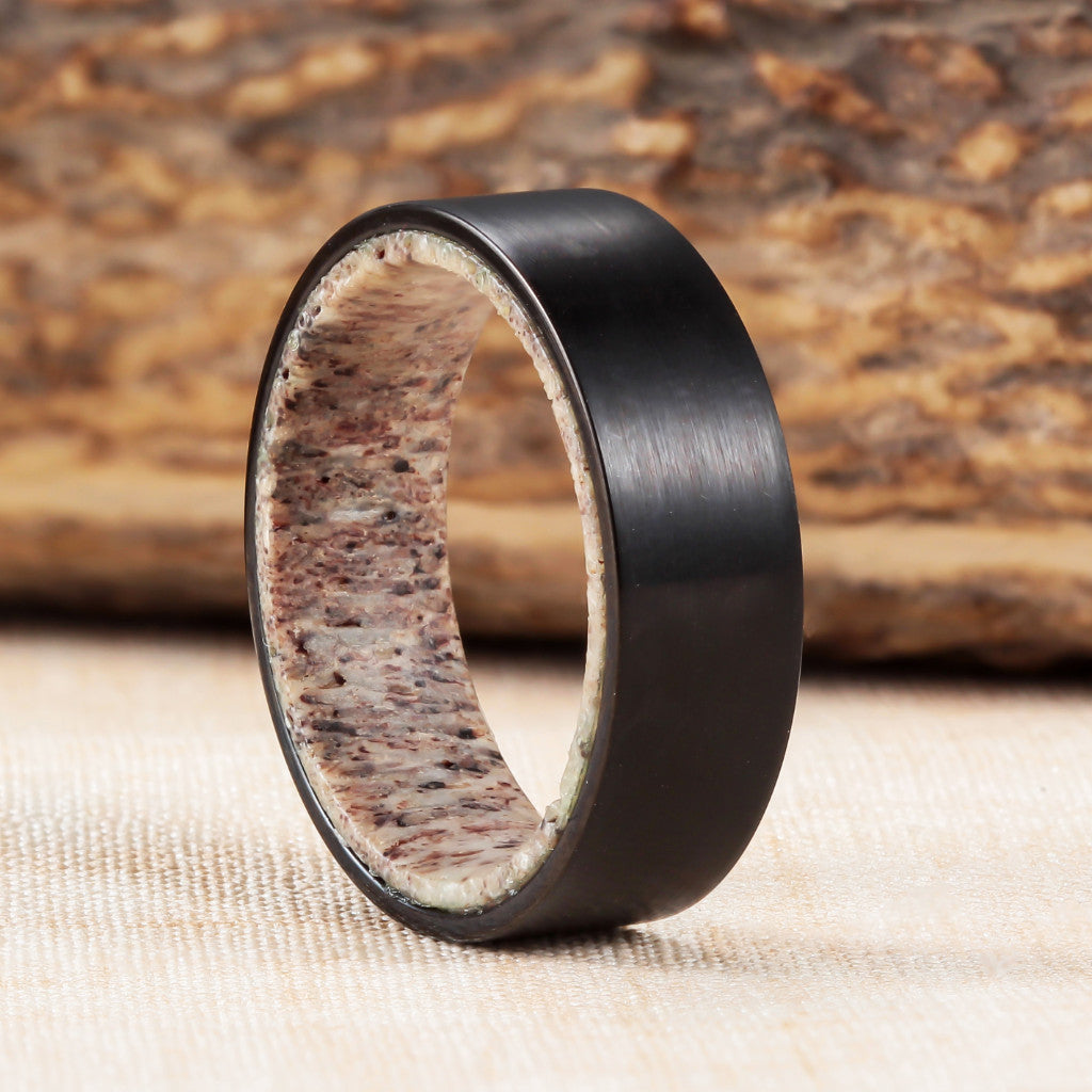 fit hammered antler pch products band ring comfort deer dsc tungsten rings engagement wedding