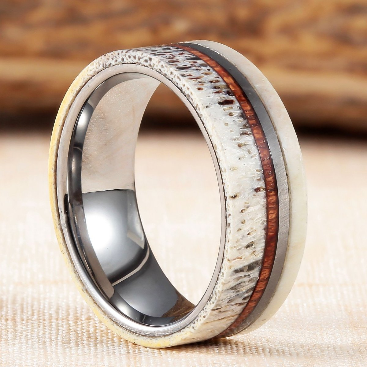 tungsten band pin antler wedding meteorite ring rings elk