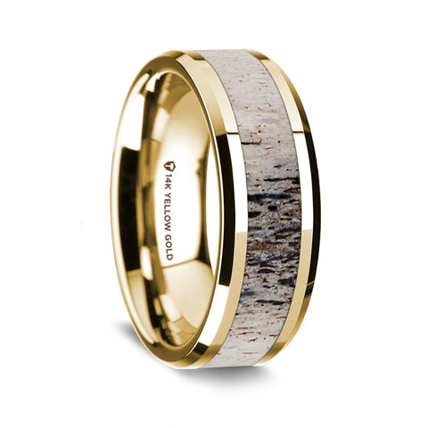 14K Yellow Gold Polished Beveled Edges Wedding Ring with Ombre Deer Antler Inlay - 8 mm