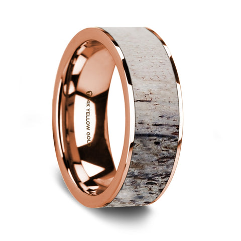 Flat Polished 14K Rose Gold Wedding Ring with Ombre Deer Antler Inlay - 8 mm