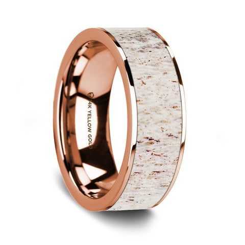 Flat Polished 14K Rose Gold Wedding Ring with White Deer Antler Inlay - 8 mm