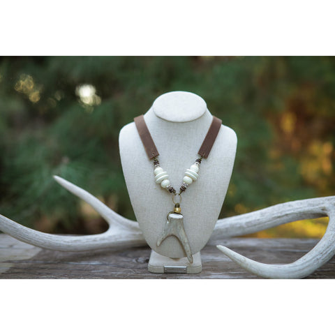 Antler Fork & Leather Necklace