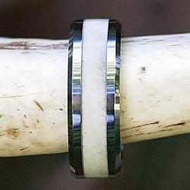 Tungsten Deer Antler Wedding Ring with Beveled Edge - Color - White