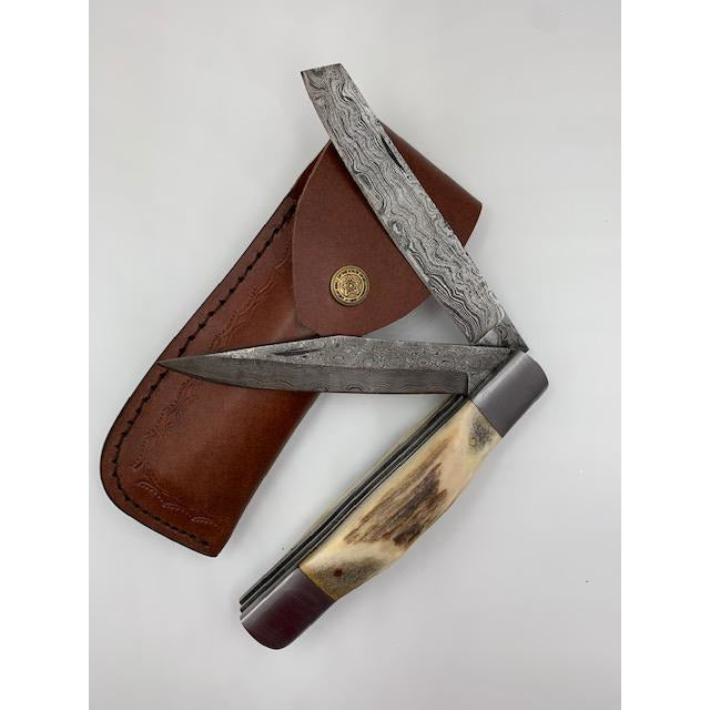 "The Paul Bunyan - MASSIVE/BULKY ""POCKET KNIFE"" (Double Blade, Damascus)"