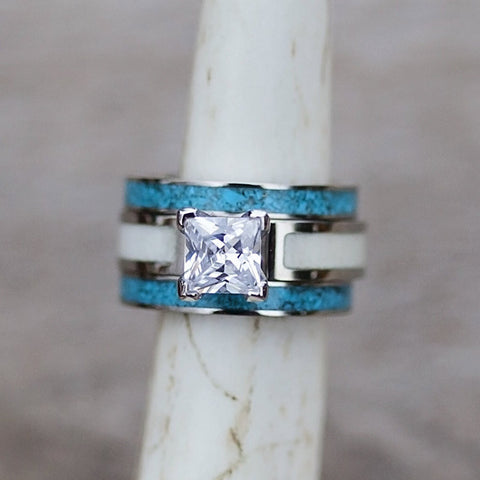 Women's Engagement & Wedding Set - 5mm White Antler Engagement Ring with 3mm Titanium Crushed Turquoise Stacking bands