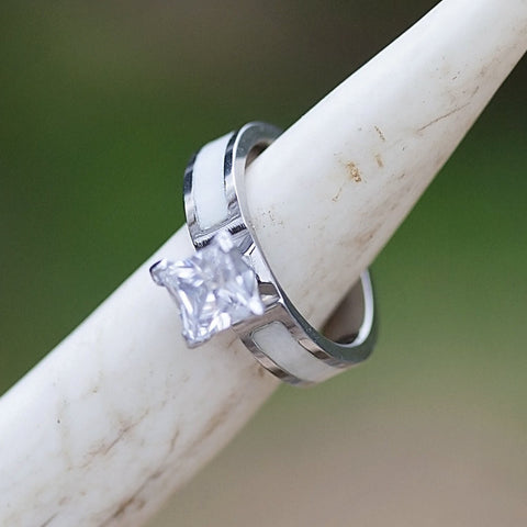 Womens Engagement Ring - Color - White - Titanium 1.4 Carat Cubic Zirconia with Real Antler Inlay