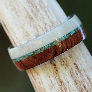 Antler Koa Turquoise Outer Band with Tungsten Interior