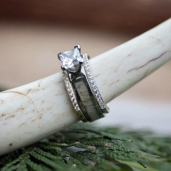 wedding products deer antler engagement with and band set meteorite moissanite rings ring