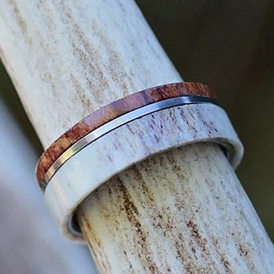 Natural Antler, Thin Koa, Polished Outer Strip, Interior Polished Tungsten