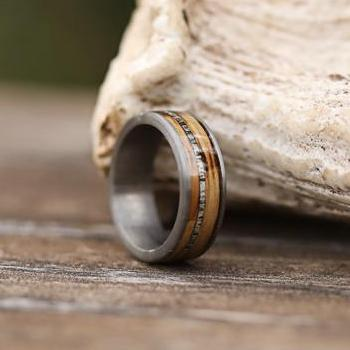 Antler Wedding Bands Genuine Whiskey Barrel Antlerringscom