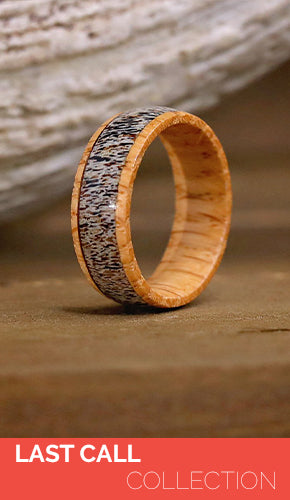 Size 4 Wood Ring with Stainless Steel insert Pink and Orange