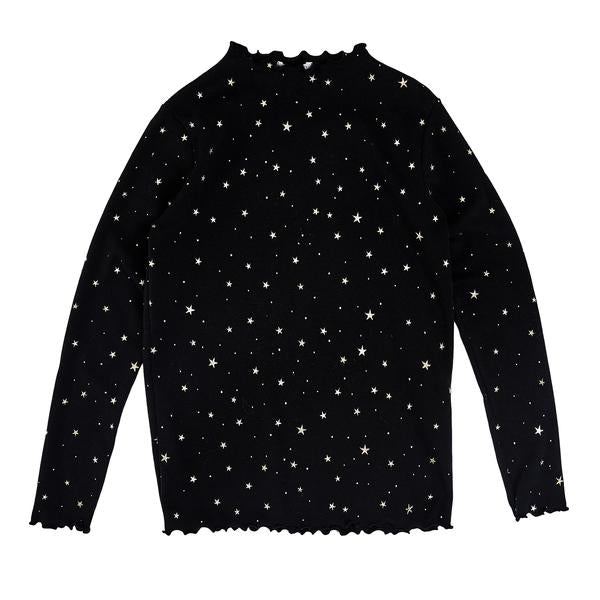 Gold Star Ava Mom Top- Black