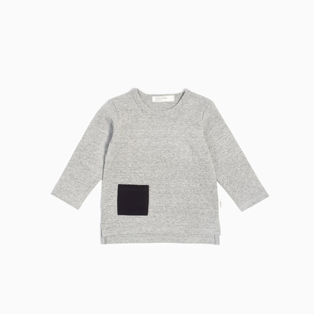 """Miles Basic"" Heather Gray Long Sleeve T-shirt"