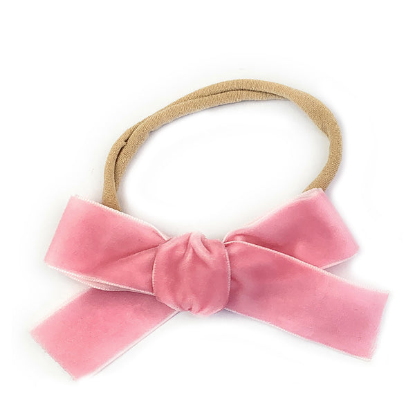 Headband - Velvet Bow - Light Pink
