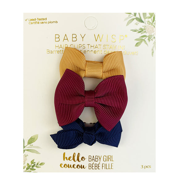 Mini Latch -3pk Bows - Vintage Gold, Burgundy, Navy