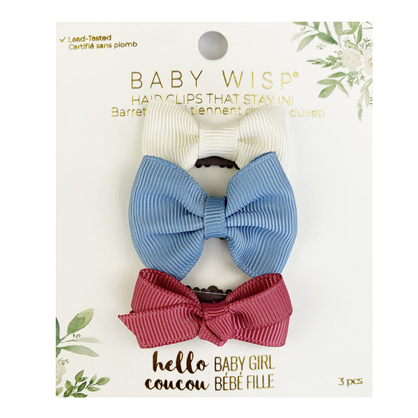 Mini Latch - 3pk Bows - Ivory, French Blue, Colonial Rose