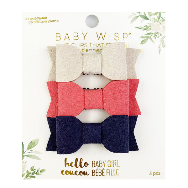 Mini Latch 3pk Mia Bows - Tan, Coral, Navy