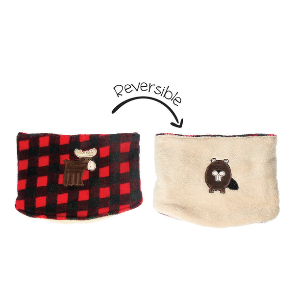 Kids Reversible Neck Warmer - Red Moose/Beaver