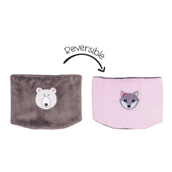 Kids Reversible Neck Warmer - Polar Bear/Arctic Fox